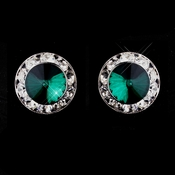 Silver Teal Rhinestone Pierced Stud Button Earrings 4722