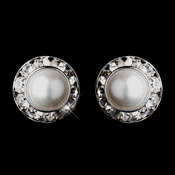 Silver White Pearl & Clear Rhinestone Clipped Stud Button Earrings 4722