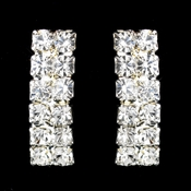 Silver Clear Two Row Pave Round Rhinestone Earrings 5083