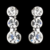 Silver Clear Round Graduated Rhinestone Dangle Earrings 5101