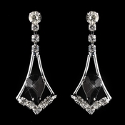 Silver Black & Clear Teardrop Dangle Earrings 5103