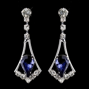 Silver Navy & Clear Teardrop Dangle Earrings 5103