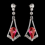 Silver Red & Clear Teardrop Dangle Earrings 5103