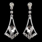 Silver Smoked & Clear Teardrop Dangle Earrings 5103
