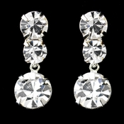 Silver Clear Round Rhinestone Dangle Earrings 5116