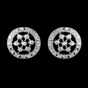 Antique Silver Clear CZ Round Crystal Stud Earrings 5214