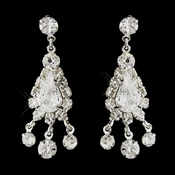 Silver Clear Round & Teardrop Rhinestone Dangle Earrings 5231