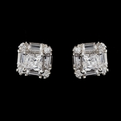Antique Silver Rhodium Clear Princess CZ Crystal Stud Earrings 5562