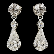 Silver Clear Teardrop Dangle Earrings 5904