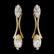 Gold Clear Marquise Rhinestone Clipped Earrings 5950