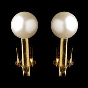 Gold Ivory Pearl Clipped Stud Earrings 6042