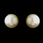 Silver Ivory Pearl Pierced Stud Earrings 6042
