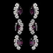 Silver Amethyst Alternating Marquise Rhinestone Dangle Earrings 6122