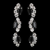 Silver Black Alternating Marquise Rhinestone Dangle Earrings 6122