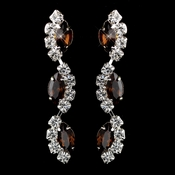 Silver Brown Alternating Marquise Rhinestone Dangle Earrings 6122