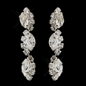 Silver Clear Alternating Marquise Rhinestone Dangle Pierced Earrings 6122