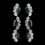 Silver Emerald Alternating Marquise Rhinestone Dangle Earrings 6122