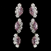 Silver Light Amethyst Alternating Marquise Rhinestone Dangle Earrings 6122