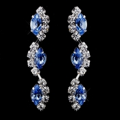 Silver Light Blue Alternating Marquise Rhinestone Dangle Earrings 6122