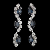 Silver Navy Alternating Marquise Rhinestone Dangle Earrings 6122