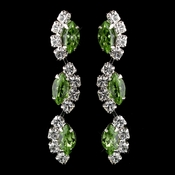 Silver Peridot Alternating Marquise Rhinestone Dangle Earrings 6122