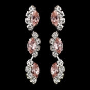 Silver Pink Alternating Marquise Rhinestone Dangle Earrings 6122