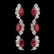 Silver Red Alternating Marquise Rhinestone Dangle Earrings 6122