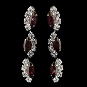 Silver Ruby Alternating Marquise Rhinestone Dangle Earrings 6122