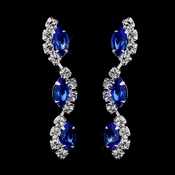 Silver Sapphire Alternating Marquise Rhinestone Dangle Earrings 6122