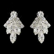 Silver Clear Round & Marquise Rhinestone Cluster Clipped Earrings 6132