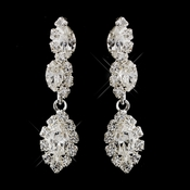 Silver Clear Marquise Dangle Earrings 6361