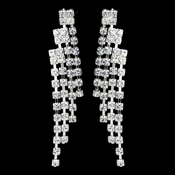 Silver Clear Rhinestone Chandelier Earrings 6550