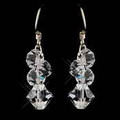 Silver Clear Swarovski Crystal Cluster Dangle Earrings 6710