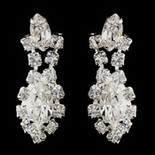 Silver Clear Marquise Rhinestone Drop Earrings 7662-1