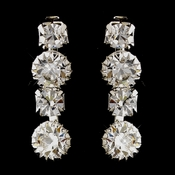 Silver Clear Round Rhinestone Drop Earrings 8194