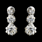 Silver Clear Graduated Round Rhinestone Drop Earrings 8301