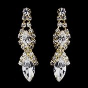 Gold Clear Marquise Rhinestone Drop Earrings 8361