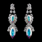 Silver AB Marquise Rhinestone Drop Earrings 8361