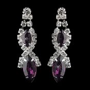 Silver Amethyst Marquise Rhinestone Drop Earrings 8361