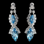 Silver Aqua Marquise Rhinestone Drop Earrings 8361