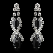 Silver Black Marquise Rhinestone Drop Earrings 8361