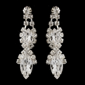 Silver Clear Marquise Rhinestone Drop Earrings 8361