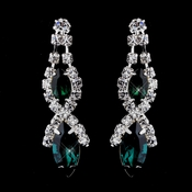 Silver Emerald Marquise Rhinestone Drop Earrings 8361