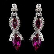 Silver Fuchsia Marquise Rhinestone Drop Earrings 8361