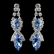 Silver Light Blue Marquise Rhinestone Drop Earrings 8361
