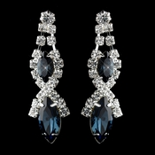 Silver Navy Marquise Rhinestone Drop Earrings 8361