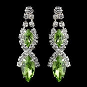 Silver Peridot Marquise Rhinestone Drop Earrings 8361