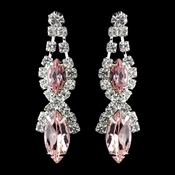 Silver Pink Marquise Rhinestone Drop Earrings 8361