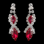 Silver Red Marquise Rhinestone Drop Earrings 8361