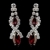Silver Ruby Marquise Rhinestone Drop Earrings 8361